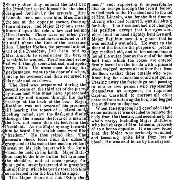 An article about the assassinatino of President Abraham Lincoln, Baltimore Clipper newspaper article 18 April 1865