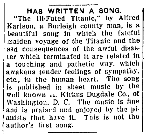 An article about a song memorialzing the sinking of the Titanic, Bismarck Daily Tribune newspaper article 18 April 1913