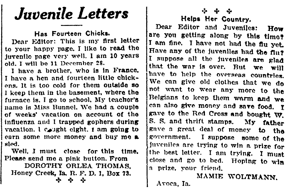 Children's letters to the editor, Evening Nonpareil newspaper article 15 December 1918