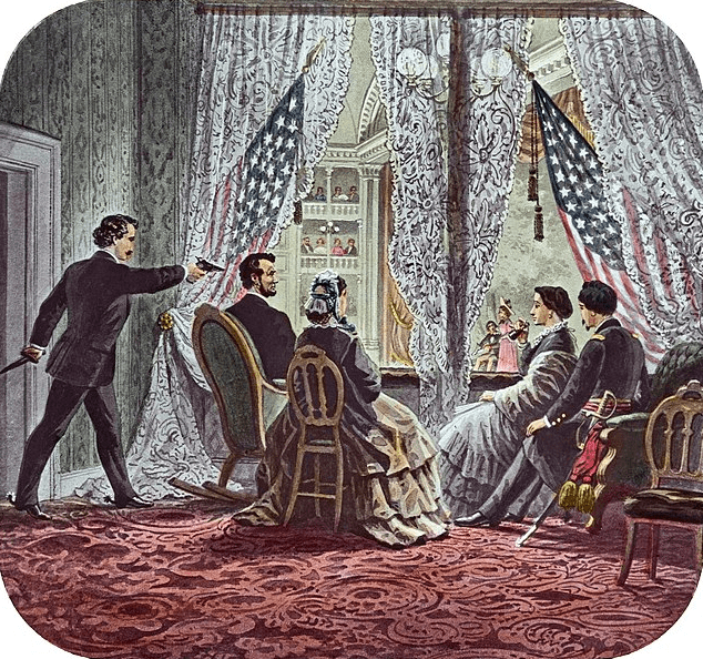 "Illustration: 4""x3"" slide depicting John Wilkes Booth leaning forward to shoot President Abraham Lincoln as he watches ""Our American Cousin"" at Ford's Theatre in Washington, D.C., 14 April 1865"