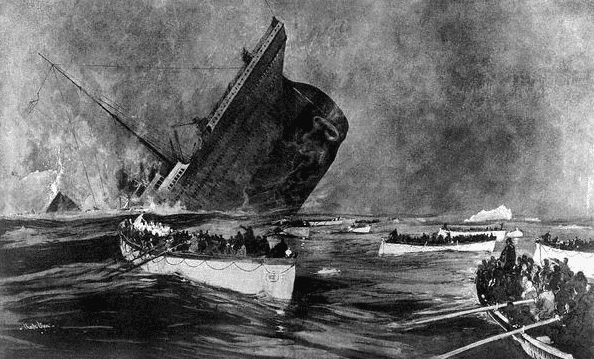 """Illustration: Titanic's final plunge, published in the """"Graphic Supplement"""" of 27 April 1914"""