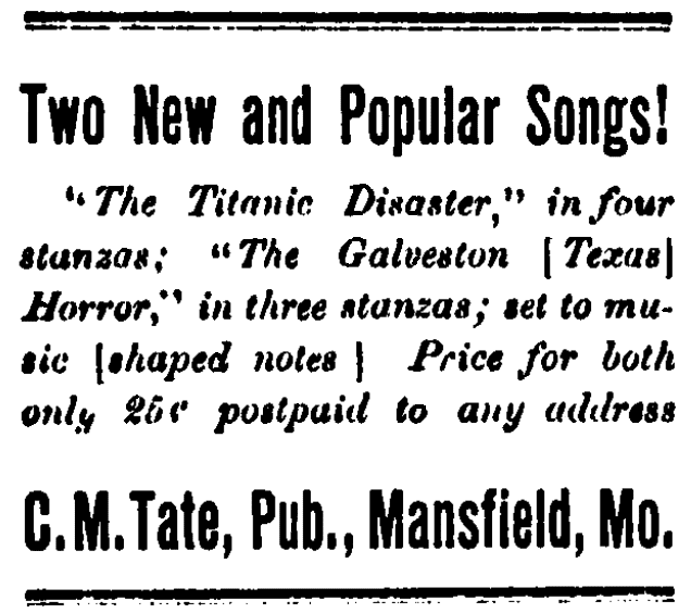 An article about sheet music memorializing the sinking of the Titanic, Mansfield Mirror newspaper article 20 March 1913