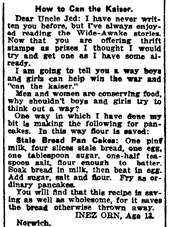 A child's letter to the editor, Norwich Morning Bulletin newspaper article 21 March 1918
