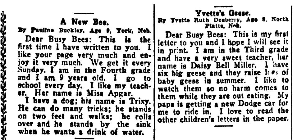 Children's letters to the editor, Omaha Daily Bee newspaper article 16 March 1919