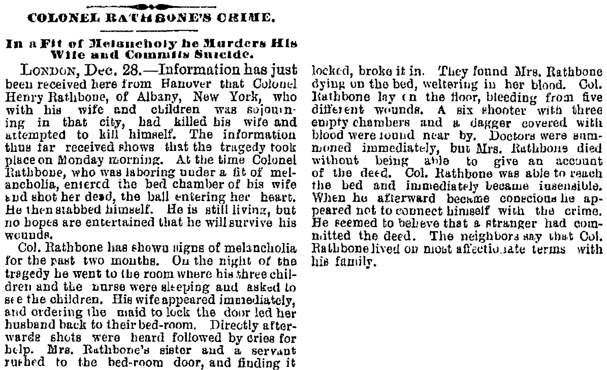 An article about Henry Rathbone and Clara Harris, Patriot newspaper article 31 December 1883