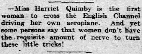 An article about Harriet Quimby, Philadelphia Inquirer newspaper article 18 April 1912