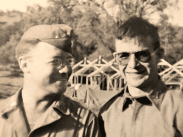 "Photo: Kermit ""Duke"" Ellison (left) with Grover C. Gauntt Jr. at Camp Roberts, California, 1943. Credit: Casey Gauntt."