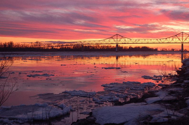 Photo: the Mississippi/Ohio River confluence, Cairo, Illinois