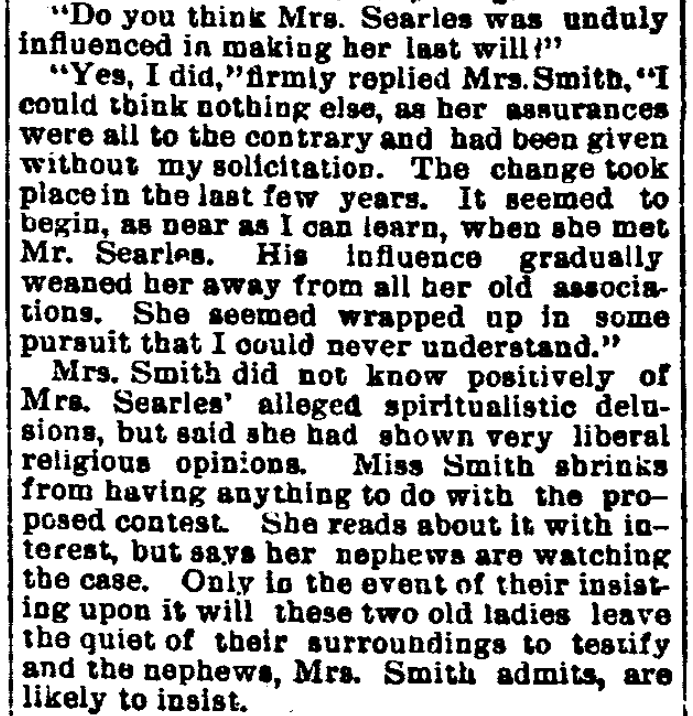 An article about the Searles probate hearing, Salt Lake Herald newspaper article 12 September 1891