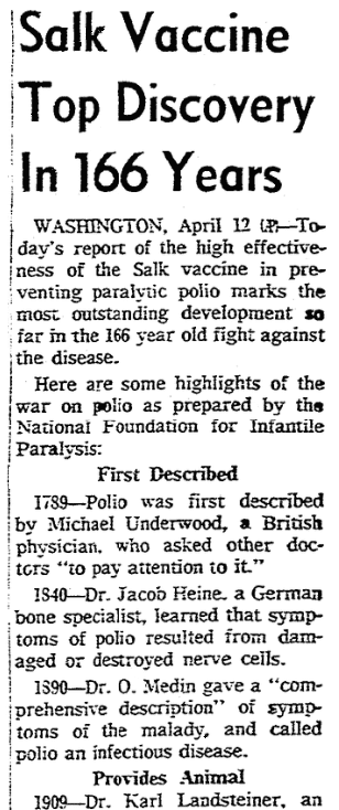 An article about polio, San Antonio Express newspaper article 13 April 1955