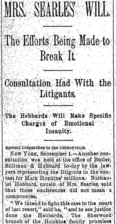 An article about the Searles probate hearing, San Francisco Chronicle newspaper article 2 September 1891