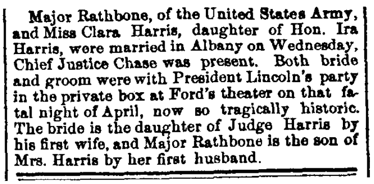 An article about the wedding of Henry Rathbone and Clara Harris, Waterbury Daily American newspaper article 15 July 1867
