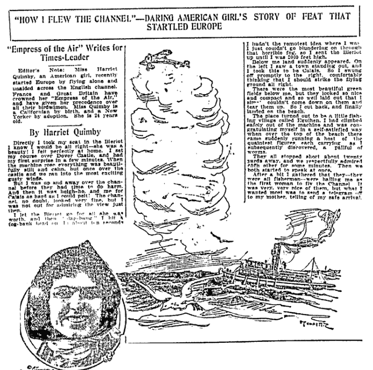An article about Harriet Quimby, Wilkes-Barre Times-Leader newspaper article 5 June 1912