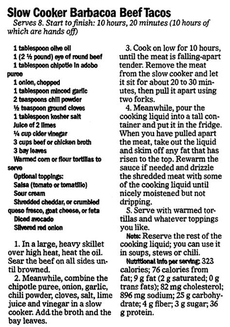 A taco recipe, Advocate newspaper article 2 March 2017