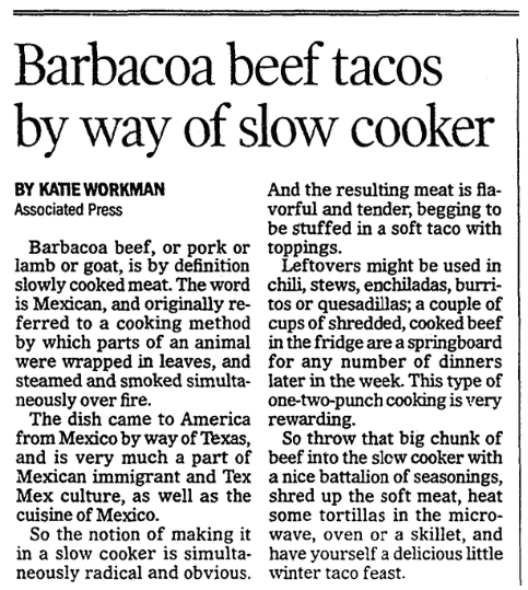 An article about tacos, Advocate newspaper article 2 March 2017