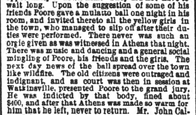 An article about Benjamin Poore, Atlanta Constitution newspaper article 1 August 1885