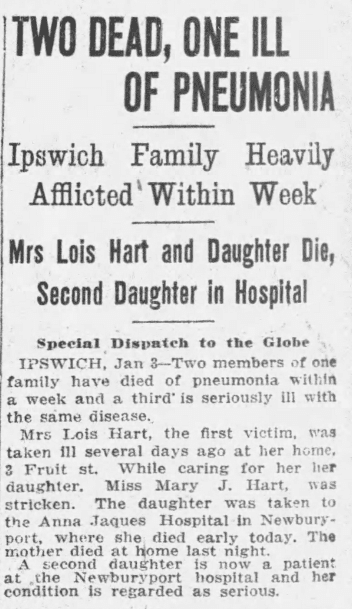 A Hart family obituary, Boston Globe newspaper article 4 January 1917