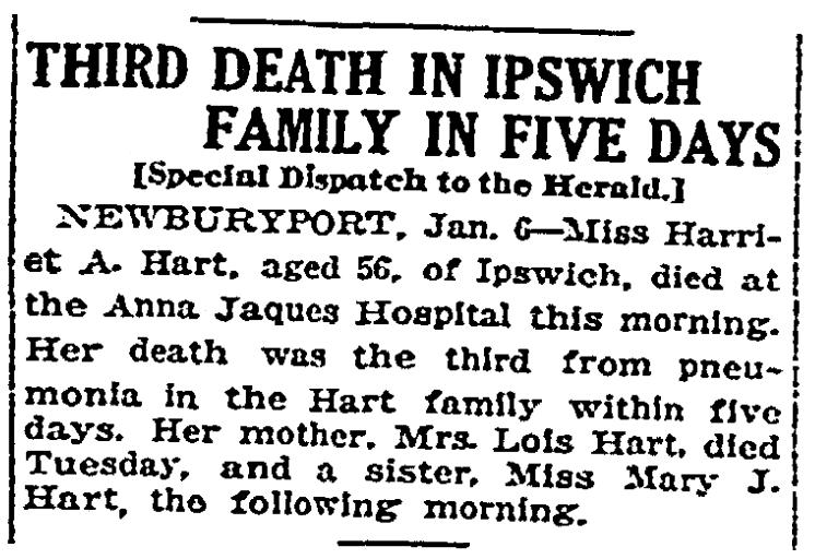 A Hart family obituary, Boston Herald newspaper article 7 January 1917