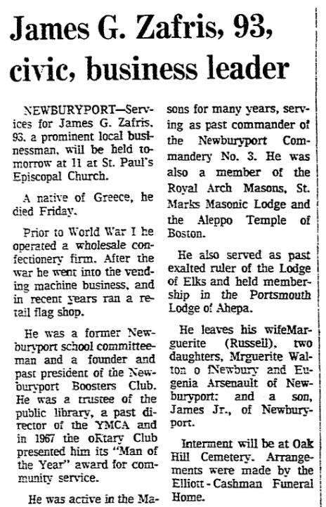An obituary for James Zafris, Boston Herald newspaper article 9 January 1977