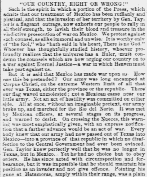 An article about the Mexican-American War, Daily Atlas newspaper article 14 May 1846
