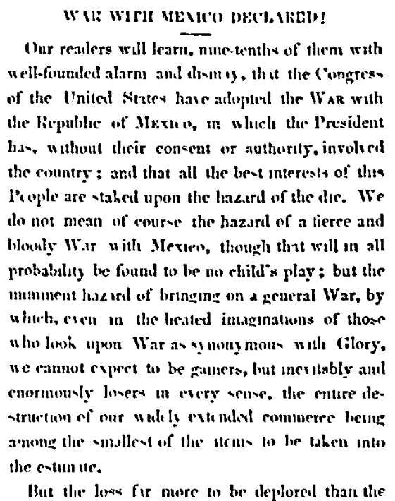 An article about the Mexican-American War, Daily National Intelligencer newspaper article 13 May 1846