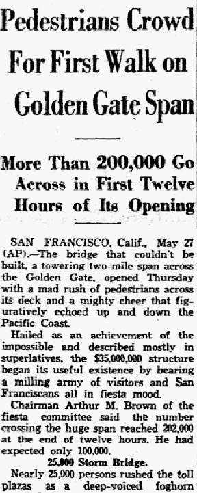 An article about the Golden Gate Bridge, Dallas Morning News newspaper article 28 May 1937