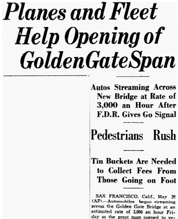 An article about the Golden Gate Bridge, Dallas Morning News newspaper article 29 May 1937