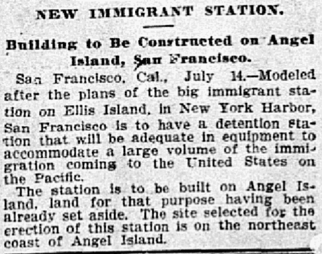An article about an immigrant station, Dallas Morning News newspaper article 15 July 1905