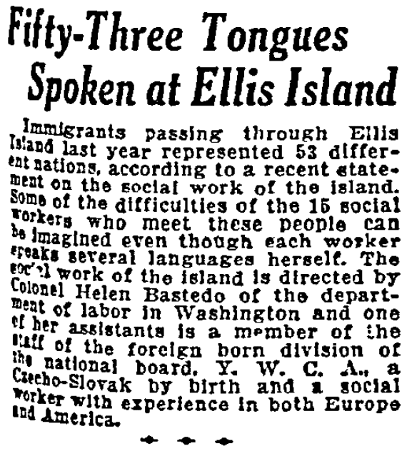 An article about Ellis Island, Duluth News-Tribune newspaper article 23 January 1921
