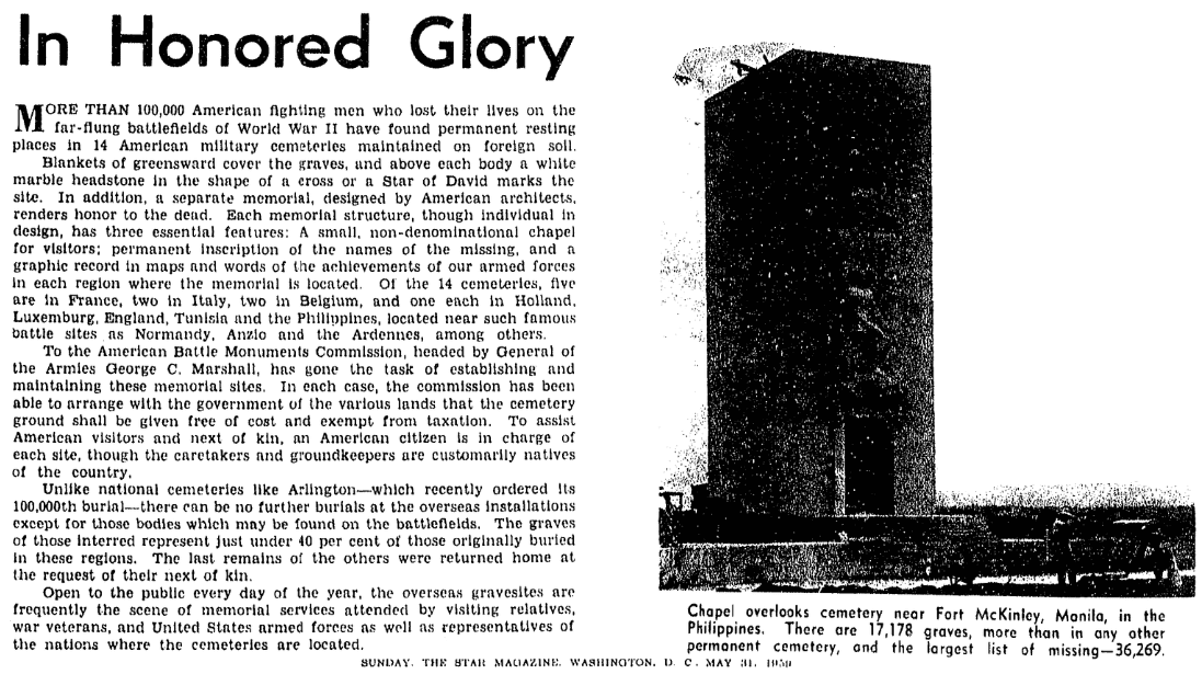 An article about the American Battle Monuments Commission, Evening Star newspaper article 31 May 1959