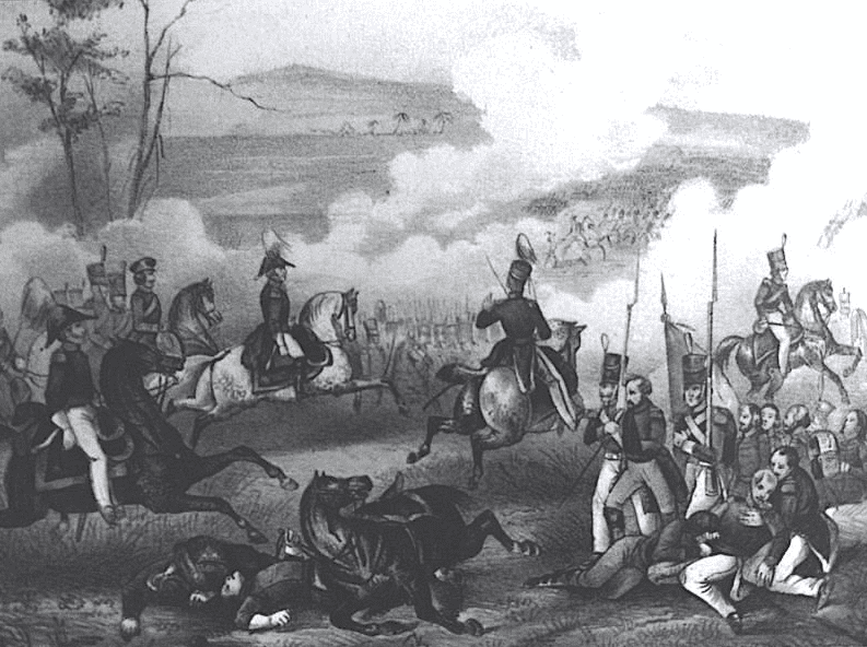 Illustration: General Zachary Taylor rides his white horse at the Battle of Palo Alto near present-day Brownsville, Texas, 8 May 1846