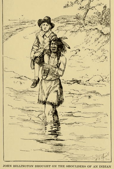 """Illustration: """"John Billington Brought on the Shoulders of an Indian"""" from """"Good stories for great birthdays, arranged for story-telling and reading aloud and for the children's own reading."""""""