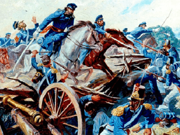 Illustration: Captain Charles A. May's squadron of the 2nd Dragoons attacks the Mexican Army lines, Resaca de la Palma, Texas, 9 May 1846. Credit: U.S. Army; Wikimedia Commons.