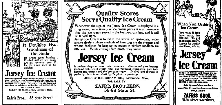Montage: ads for Jersey Ice Cream sold at the Zafris Bros.' stores, run at various times in the Newburyport Daily News