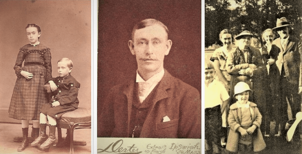Montage: Hart family photos. (left) Mary Josephine and brother George Hart; (middle) George Hart; and (right) George Hart family