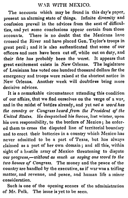 An article about the Mexican-American War, National Aegis newspaper article 13 May 1846