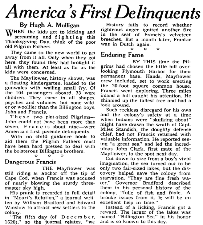 An article about the Billingtons who arrived onboard the Mayflower, Omaha World-Herald newspaper article 22 November 1959