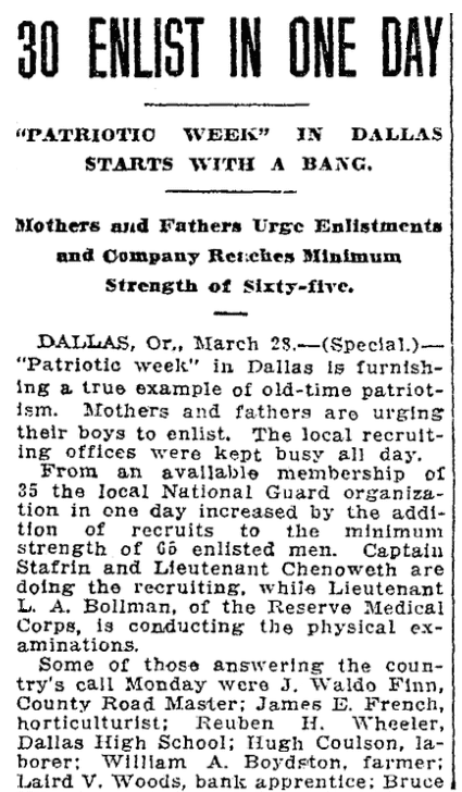 An article about WWI enlistments, Oregonian newspaper article 29 March 1917