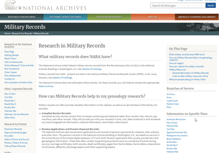 Photo: screenshot of NARA page for military records