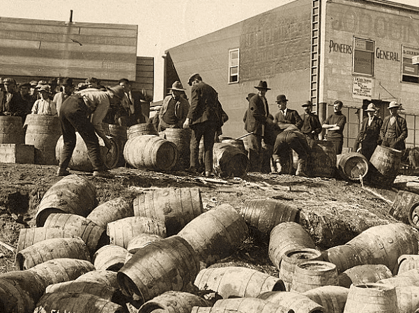 Photo: a police liquor raid at Elk Lake, Ontario, Canada, c. 1925. Credit: Archives of Ontario, C.H.J. Snider fonds, Reference Code F 1194 S 15000, I0015265.