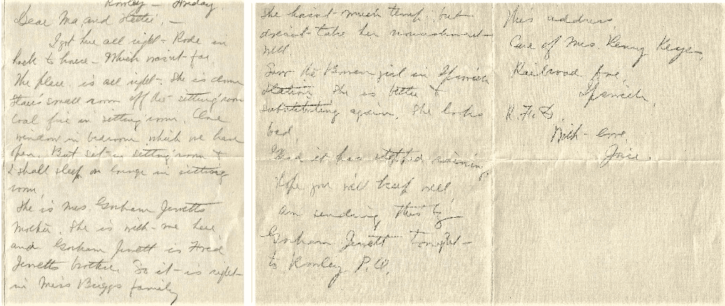 """Photo: letter from Mary Josephine to her mother Lois Augusta Shute Hart (""""Ma"""") and sister Harriet Augusta Hart (""""Hattie""""), December 1916"""