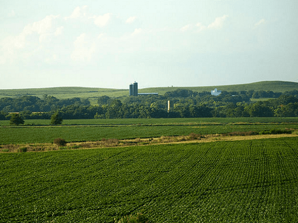 Photo: farmland and the Great Plains in central Kansas. Credit: CGP Grey; Wikimedia Commons.