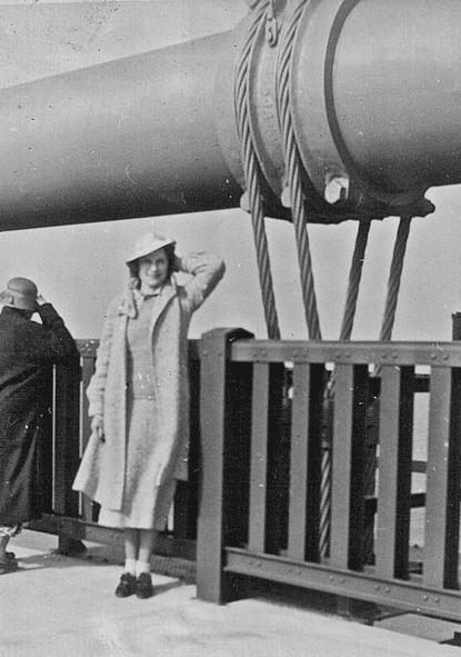 Photo: Mrs. Annell Euler poses on the Golden Gate Bridge on opening day, 1937