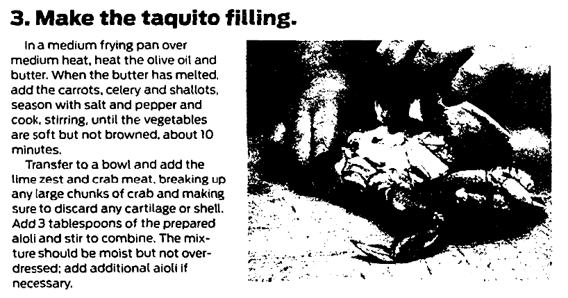 A taco recipe, San Francisco Chronicle newspaper article 1 March 2015