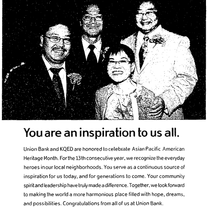 An article about Asian Pacific American Heritage Month, San Francisco Chronicle newspaper article 16 May 2010