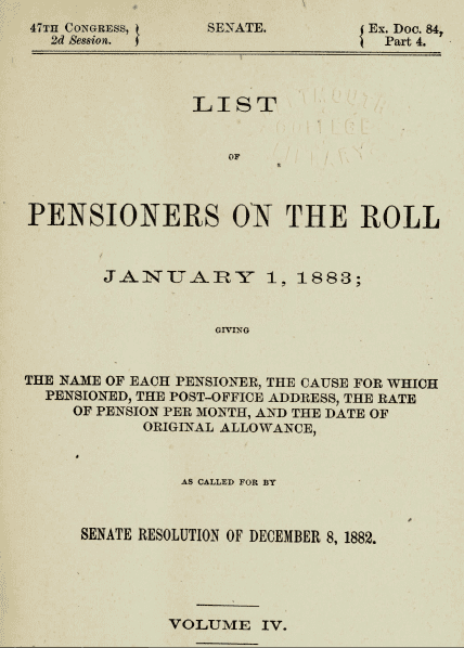 Photo: U.S. Congressional Serial Set, Pensioners Roll, 1 January 1883