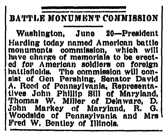 An article about the American Battle Monuments Commission, Springfield Republican newspaper article 21 June 1923