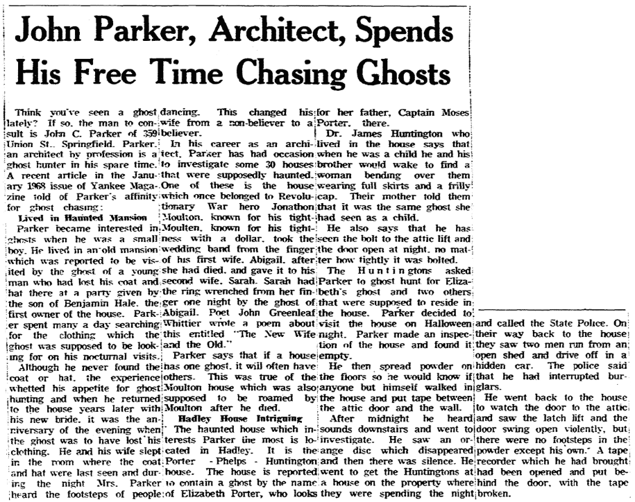 An article about the supposedly haunted Porter-Phelps-Huntington Mansion, Springfield Union newspaper article 7 January 1968