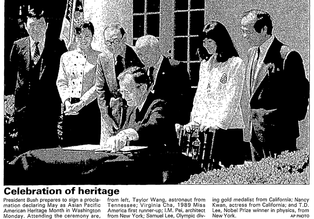 An article about Asian Pacific American Heritage Month, Times-Picayune newspaper article 9 May 1990
