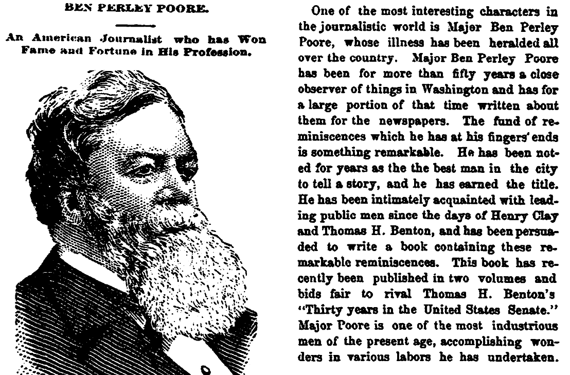An article about Benjamin Poore, Trenton Evening Times newspaper article 29 May 1887